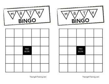 Math & Number Recognition Bingo