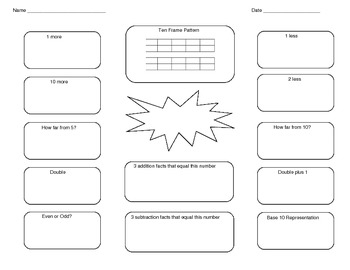 Math Number Relationship Map Graphic Organizer Gr 1 Common Core CCSS MAFS Add