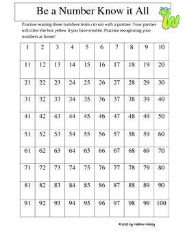 Math: Number Sense Games: Learning your numbers 1 through 100