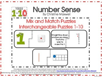 Math Number Sense Interchangeable Mix and Match Puzzles 1-10