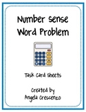 Math Number Sense Word Problem Task Card Sheets
