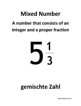 Math Number Sense Word Wall English to German