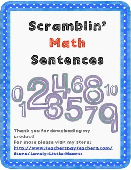 Math Number Sentence and Inequality Unscramble