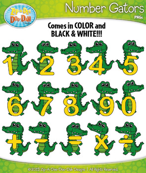Math Number & Symbol Gator Characters Clipart — Includes 3