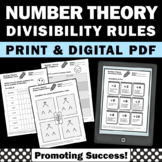 Number Theory, Divisibility Rules, Prime Factorization, GCF and LCM Worksheets