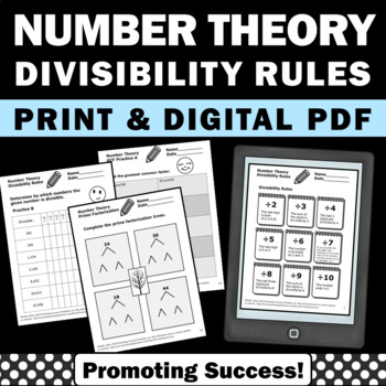 Number Theory No Prep Worksheets Divisibility Rules GCF LC
