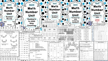 Math Number Unit BUNDLE- 5 Practice Books WITH Review and Assessments Grades 2-3