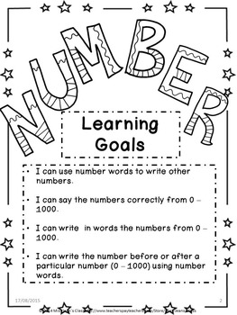 Math Number Unit - Number Words Practice Book A