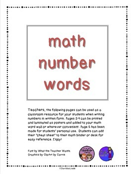 Math Number Words