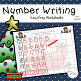 Math Number Writing Practice 1-20 Worksheets Christmas No-Prep