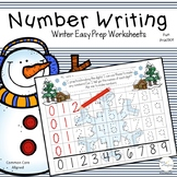 Number Writing Practice 1-20 Worksheets  Winter Activities No-Prep