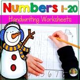 Number Writing Practice 1-20 Worksheets  Winter Activities