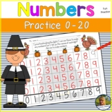 Math Number Writing Practice 1-20 Worksheets Thanksgiving