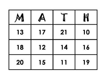 Math Numbers Bingo