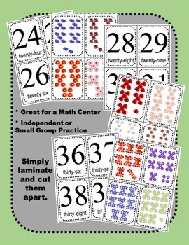 Math: Numbers! Count and Match Task Cards Level 2 - Numbers 20-45