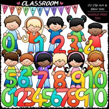 Math Numbers Kids - Clip Art & B&W Set