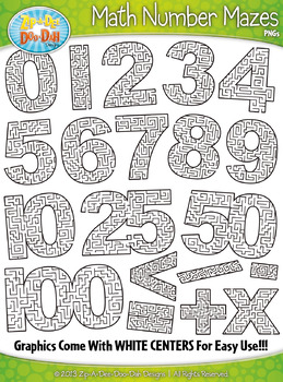 Math Numbers & Symbols Shaped Mazes Clipart {Zip-A-Dee-Doo-Dah Designs}