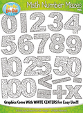 Math Numbers & Symbols Shaped Mazes Clipart {Zip-A-Dee-Doo-Dah Designs}