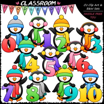 Winter Penguins With Math Numbers (0-10) - Clip Art & B&W Set
