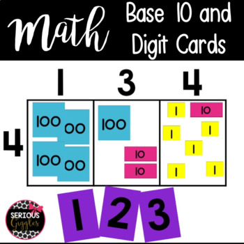 Math Numbers and Base 10 cards