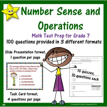 Numbers and Operations Test Prep Quizzes, Grade 7