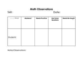 Math Observation Binder