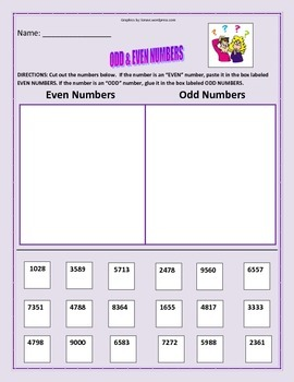 Math: Odd and Even Numbers Activity - 4 Pages.