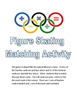 Math Olympics Figure Skating Fraction and Decimal Matching Game