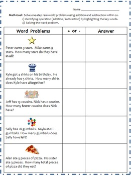 Math One-Step Real-World Word Problems Using Addition/Subtraction (Complete)