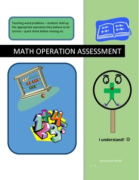 Math Operation Quick Assessment Characters - Great for Wor