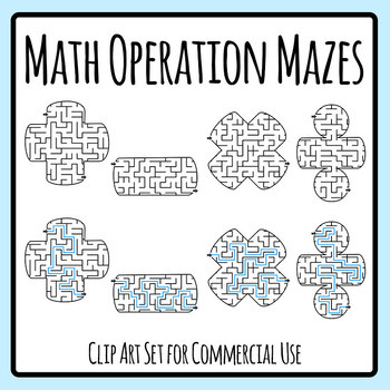 Math Operation Symbol Mazes Clip Art Set for Commercial Use