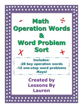Word Problems & Key Operation Words