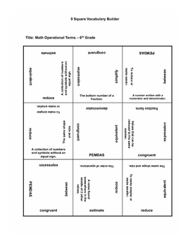 Math Operational Terms 6th grade 9 Squares