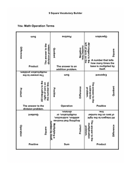 Math Operational Terms 9 Squares