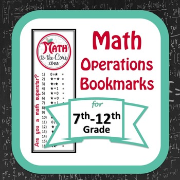 Math Operations Bookmarks