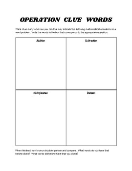 Math Operations Clue Words - 2 Activities