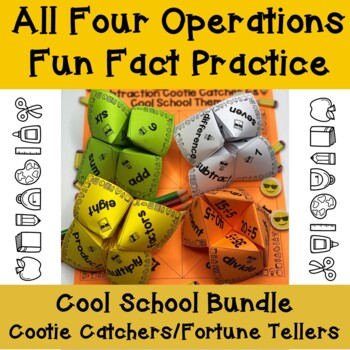 Math Facts Practice All Four Operations Cootie Catchers Bundle