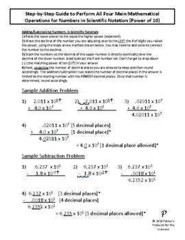 Math Operations Guide for Numbers in Scientific Notation (Power of 10)