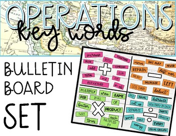 Math Operations Key Words Bulletin Board Set