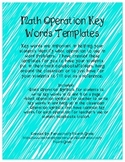 Math Operations Key Words Templates