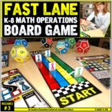 "Math Operations ""LANE SHIFT"" Game Board"