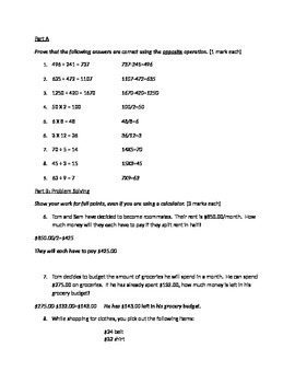 Math Operations Quiz: Addition, Subtraction, Multiplication, and Division