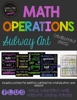 Math Operations Subway Art Poster Set PLUS Interactive Math Notebook Activity