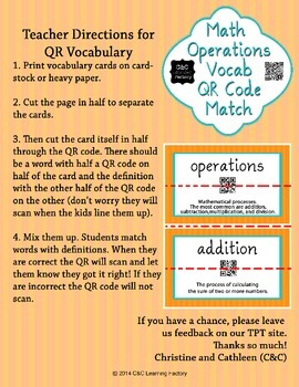 Math Operations Vocab QR Code Match