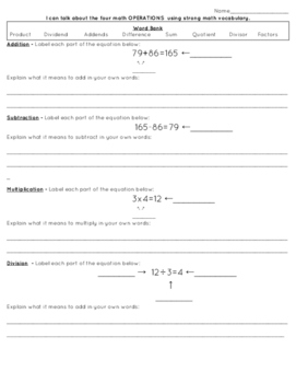 Math Operations - Vocabulary Guided Notes