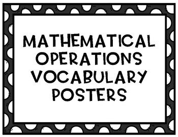 Math Operations Vocabulary Posters