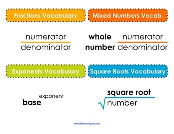 Math Operations Vocabulary Posters - basic operations fractions and more