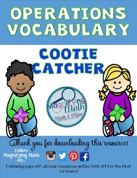 Math Operations Vocabulary Review Cootie Catcher