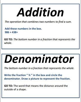Math Operations Vocabulary Scavenger Hunt