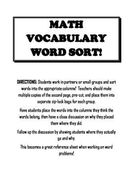 Math Operations Word Sort